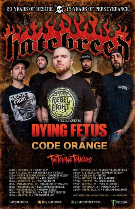 Hatebreed - Dying Fetus - tour flyer - Fall 2017 - #33MO33ILMFSO3
