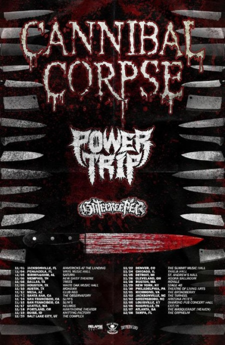 Cannibal Corpse - Power Trip - tour flyer - November 2017 - #4MO333ILMFSO33