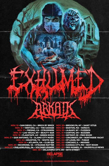 EXHUMED - ARKAIK - promo tour flyer - 2017 - #MO333ILMFSO33