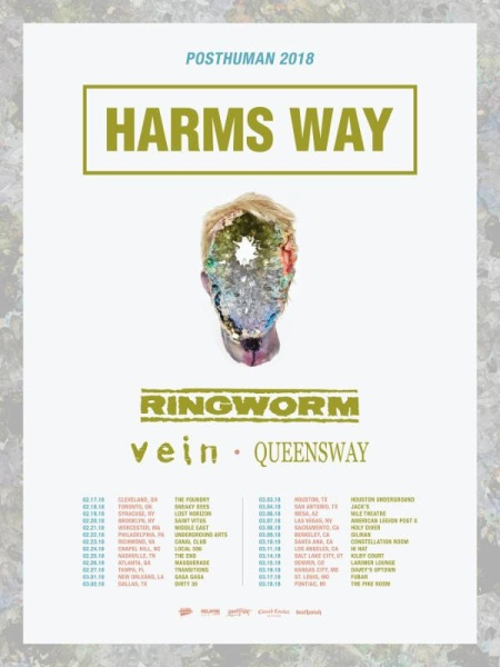 Harms Way - Ringworm - Vein - Queensway - tour flyer 2018 - #333MO8338