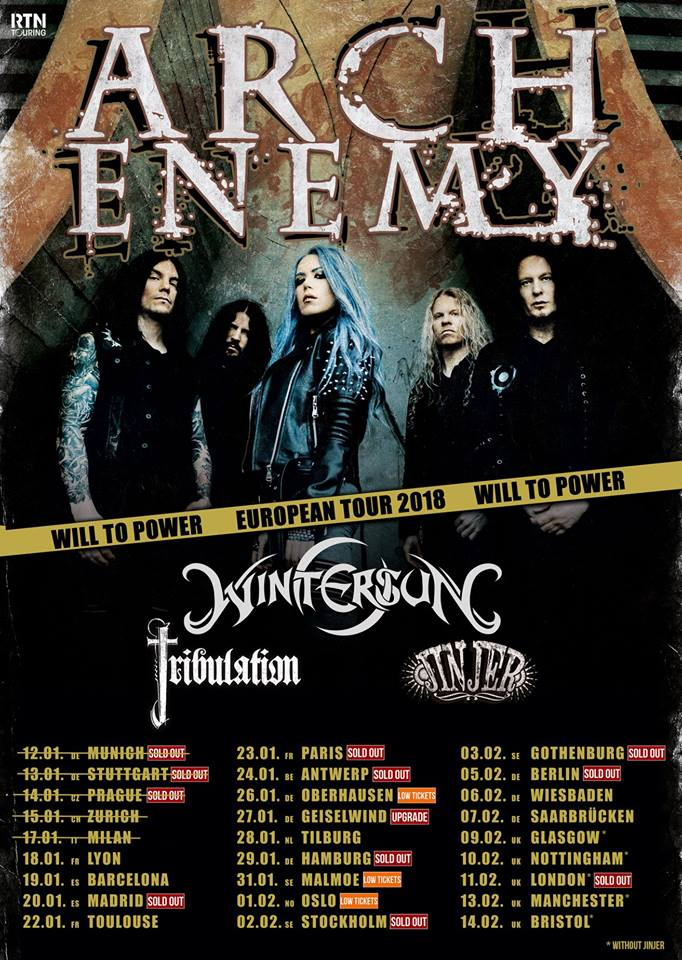 Arch Enemy - Will To Power - European Tour 2018 - promo flyer - #33MO8333ILMN