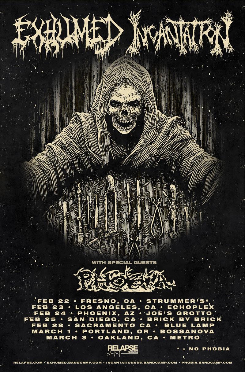Exhumed - Incantation - 2018 Tour promo flyer - #4333ILMGOSGT8833