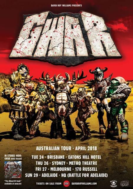 GWAR - Australia Tour 2018 - promo flyer - #333MO99ILMNDOS