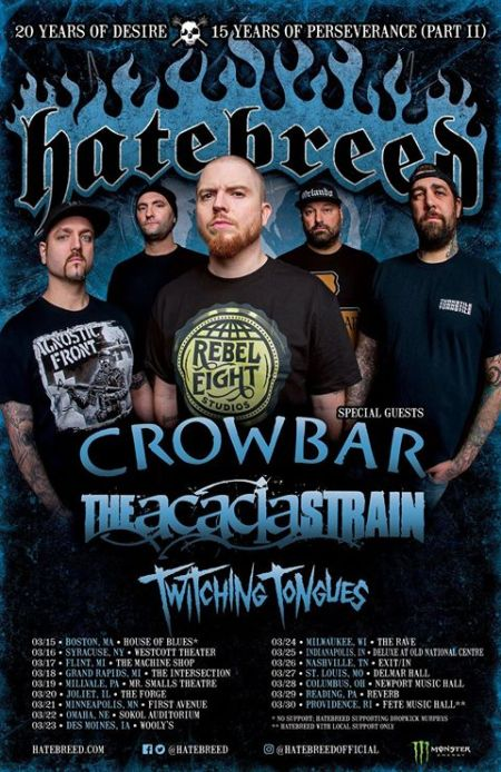 Hatebreed - Crowbar - March 2018 promo tour flyer - #33MO933ILMN