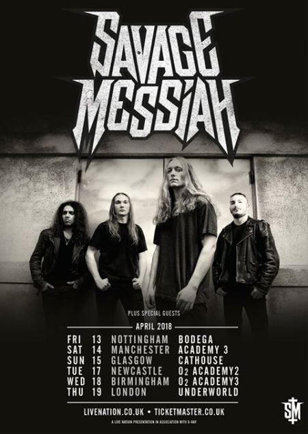 Savage Messiah - April UK - 2018 - Hands Of Fate - tour promo flyer - #3330033ILMN