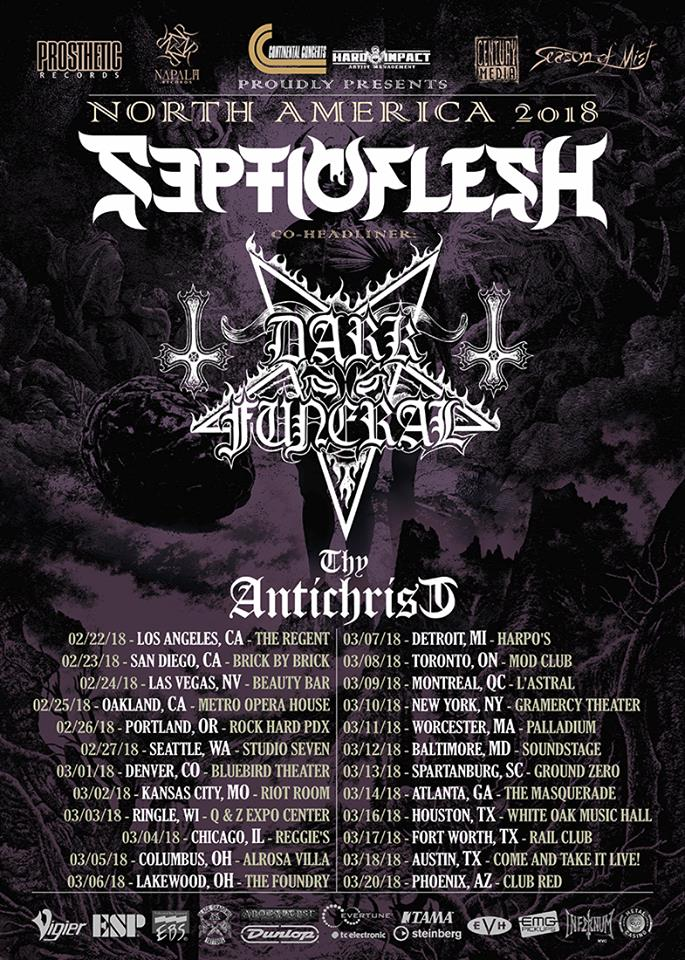 Septic Flesh - Dark Funeral - tour flyer - 2018 - #33MO977ILMNDOS