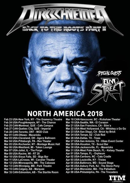 DIRKSCHNEIDER - Back To The Roots - 2018 - tour flyer - #MO333 North America Tour - #33ILG