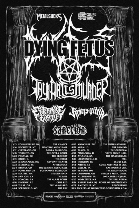 Dying Fetus - Rivers Of Nihil - tour flyer - April March 2018 - #333MO333ILMGDSO