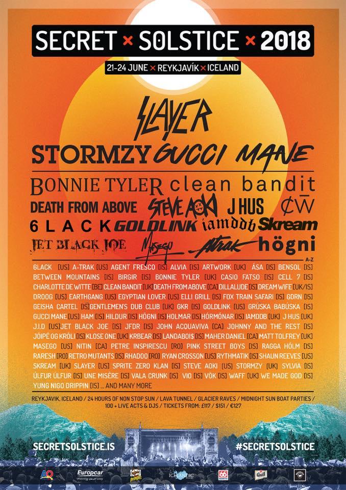 Secret Solstice Festival - promo flyer - 2018 - Slayer - #33MO33ILMG