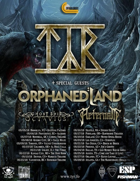 TYR - Spring North American Tour flyer - 2018 - #333MO9ILMG332