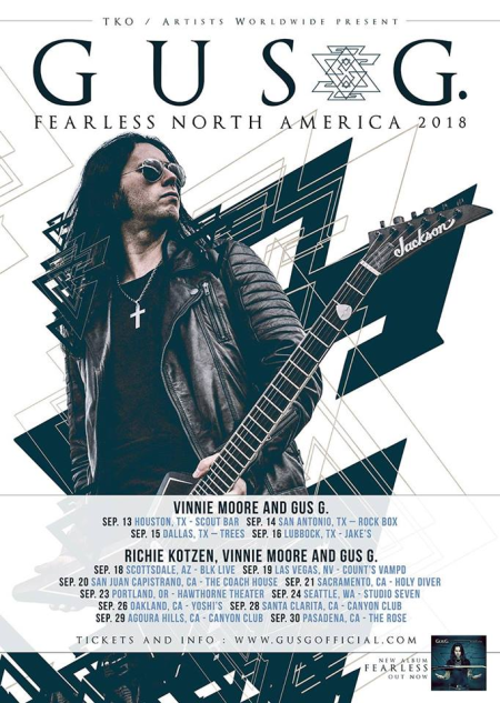 Gus G - Fearless Tour USA - promo flyer - 2018 - #3323ILMNVM33