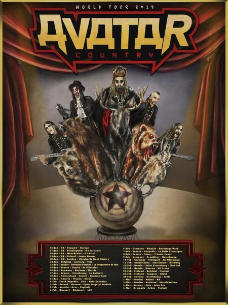Avatar - Country - 2019 tour dates Europe flyer - #33MO333ILMG
